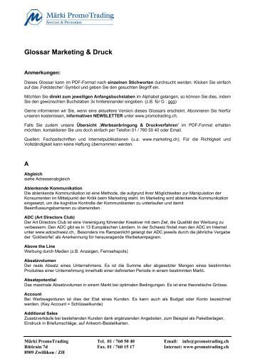 Glossar Marketing & Druck - Promo Trading Werbeartikel GmbH