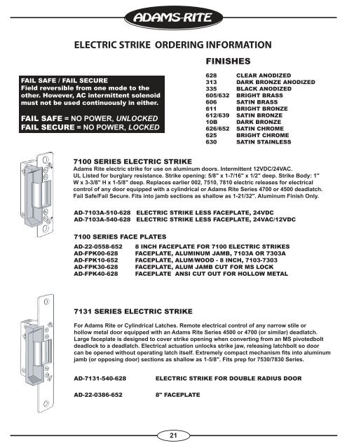12 VDC Adams Rite 7100 Series Clear Anodized Zinc Aluminum Alloy Electric Strike 7100 310628 Pack of 1
