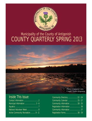 ACR 2013 Spring Newsletter - Municipality of the County of Antigonish