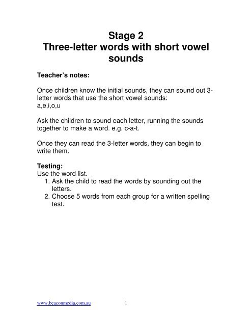 Stage 2 Three Letter Words With Short Vowel Sounds Beacon Media