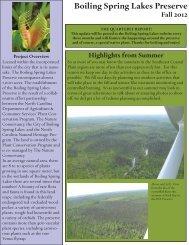Preserve Newsletter - Boiling Spring Lakes