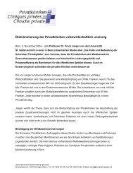 Die Rolle und Bedeutung der Schweizer ... - Privatkliniken Schweiz