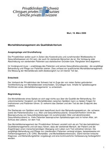 Mortalitätsmanagement 2009-02-06,2 - Privatkliniken Schweiz