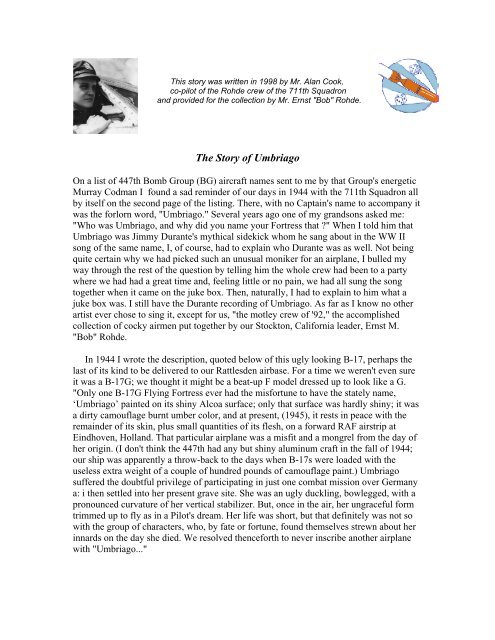 The Story of Umbriago - 447th Bomb Group