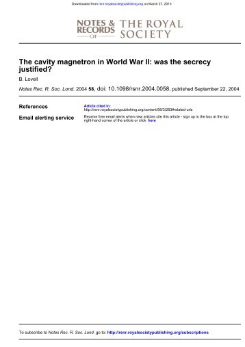 The cavity magnetron in World War II - Notes and Records of the ...