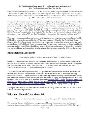 Blind Belief in Authority Why You Should Care about 9/11