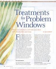 Treatments for Problem Windows - Fine Homebuilding