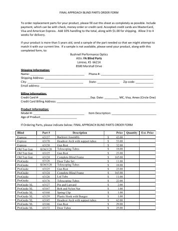 Part Order Form Final Gb