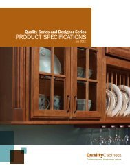 PRODUCT SPECIFICATIONS - Quality Cabinets