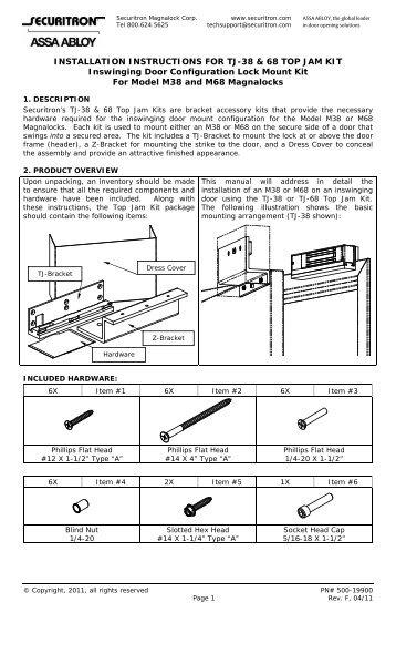 mss1 installation instructions securitron magnalock corporation rh yumpu com 120V to 24V Transformer Wiring Diagram Mag Lock Wiring Diagram for Door