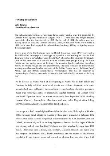1 Workshop Presentation Yuki Tanaka Hiroshima Peace Institute ...