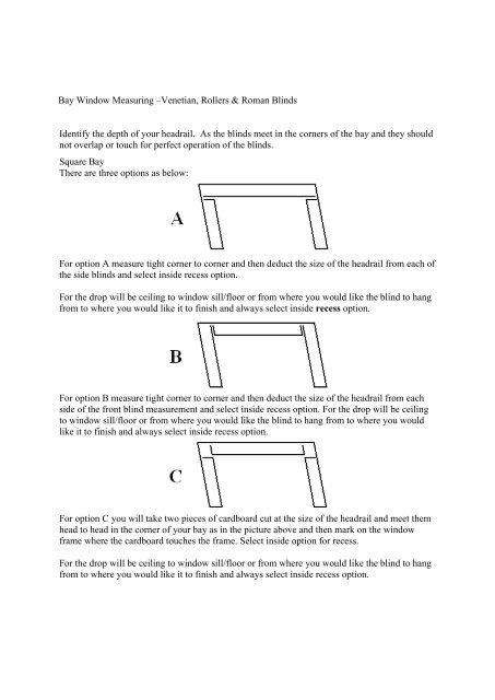 Bay Window Measuring –Venetian, Rollers & Roman ... - Merit Blinds