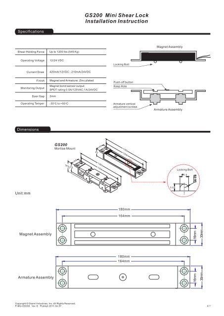 GS200 Mini Shear Lock Installation Instruction - GEM,Gianni ... on