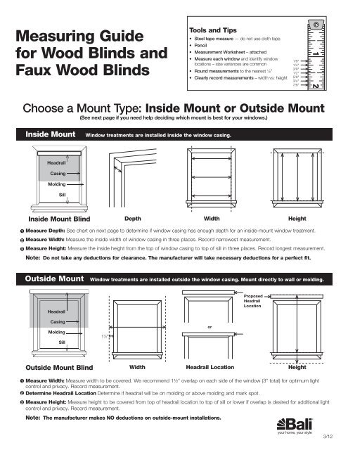 Measuring Guide For Wood Blinds And