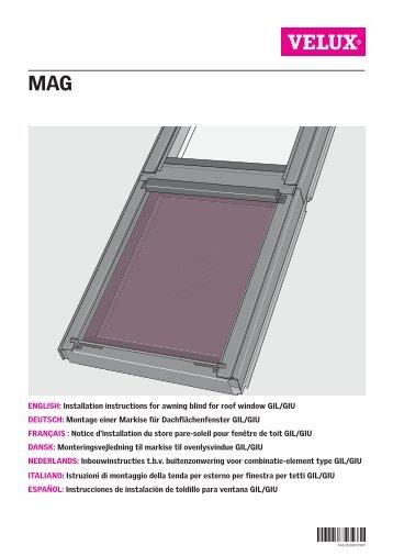 Gevelelement type vfe vfa vfb velux for Velux solar blinds installation instructions