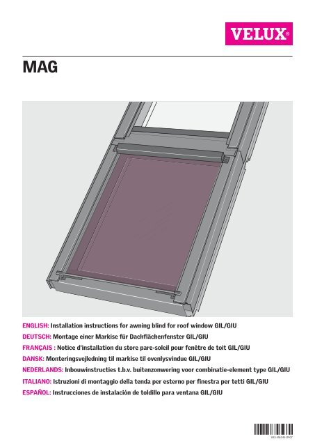English Installation Instructions For Awning Blind For Roof