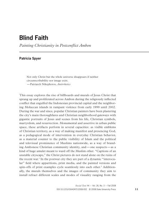 Blind faith: Painting Christianity in Post-Conflict Ambon