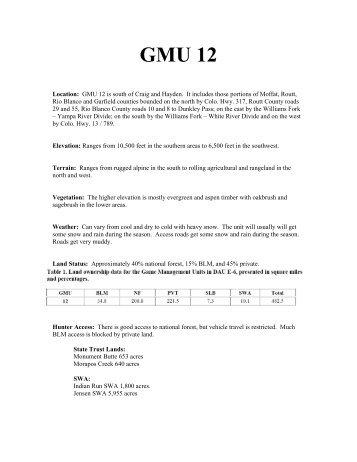 GMU012 - Colorado Division of Wildlife - Colorado.gov