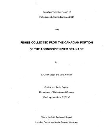 FISHES COLLECTED FROM THE CANADIAN PORTION OF THE ...