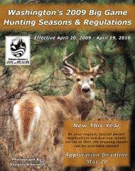 Washington State 2009 Big Game Hunting Seasons and Regulations