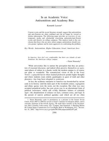 In an Academic Voice - Journal for the Study of Antisemitism