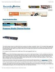 RecordingReview Studio Channel review - PreSonus