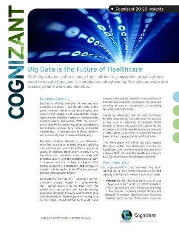 Big Data is the Future of Healthcare - Cognizant