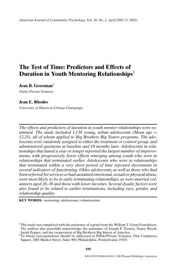 Psychology 342 adolescence jean e rhodes phd the test of time predictors and effects of jean e rhodes ph fandeluxe Images