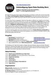 Ankündigung Open Data Hackday Bern - Swiss Open Data Camp