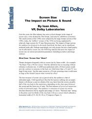 Screen Sizes Impact on Picture and Sound - Dolby Laboratories Inc.