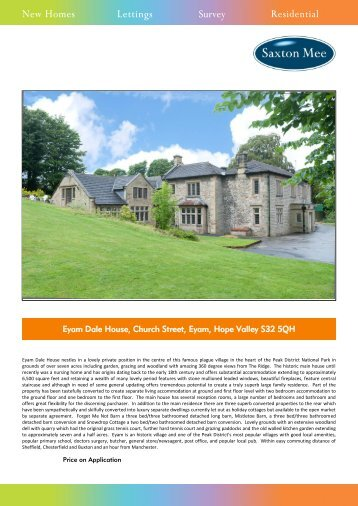 Eyam Dale House, Church Street, Eyam, Hope Valley S32 ... - Vebra