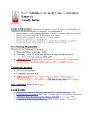NCC Pediatrics Continuity Clinic Curriculum: Enuresis Faculty Guide