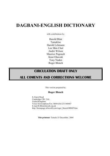 DAGBANI-ENGLISH DICTIONARY - Roger Blench