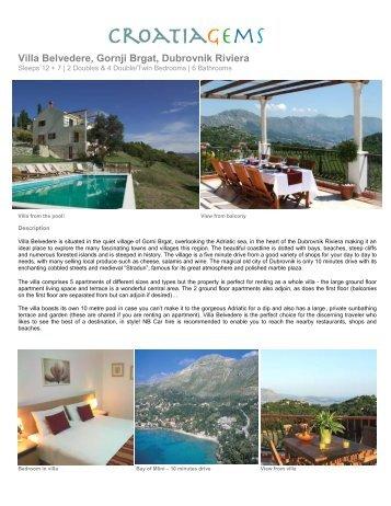 Villa Belvedere, Gornji Brgat, Dubrovnik Riviera - Croatia Gems