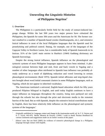 Unraveling the Linguistic Histories of Philippine Negritos*