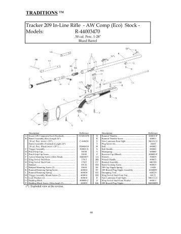 tracker rifle schematic traditions performance firearms