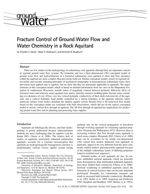 Fracture Control of Ground Water Flow and Water - Info Ngwa ...