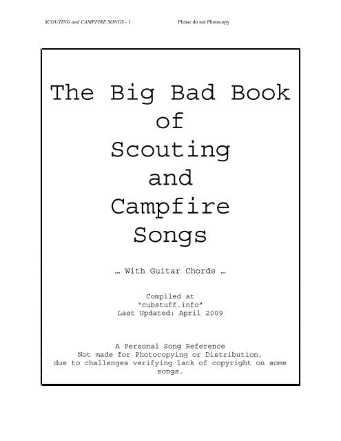 The Big Bad Book Of Scouting And Campfire Songs Horntip