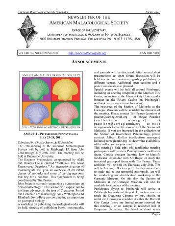 Volume 42, No. 1 Spring 2011 - American Malacological Society