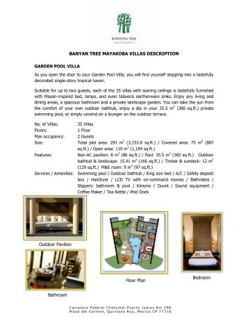 BANYAN TREE MAYAKOBA VILLAS DESCRIPTION Bedroom ...