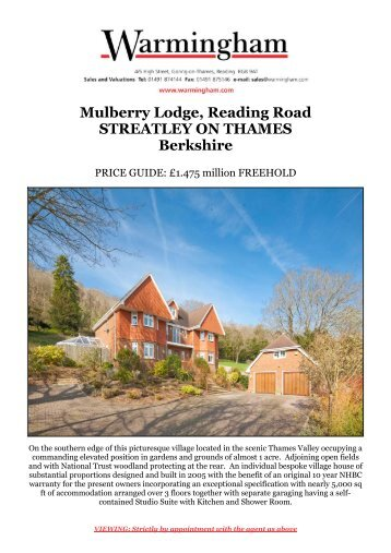 Mulberry Lodge, Reading Road STREATLEY ON ... - Warmingham