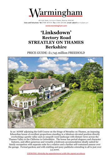 'Linksdown' Rectory Road STREATLEY ON THAMES ... - Warmingham