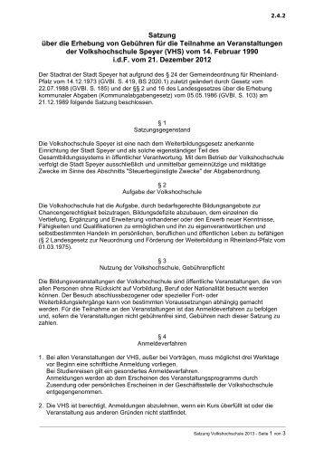 Volkshochschule der Stadt Speyer. Erhebung von Gebühren für