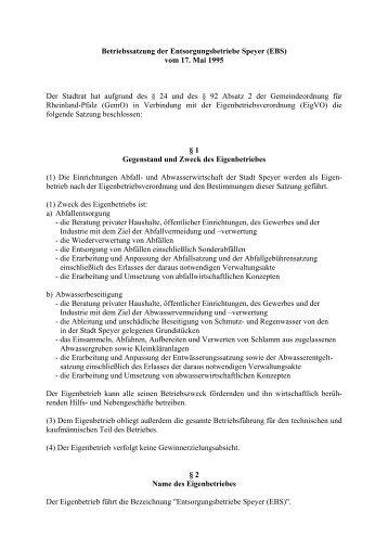 Betriebssatzung der Entsorgungsbetriebe Speyer (EBS) vom 17