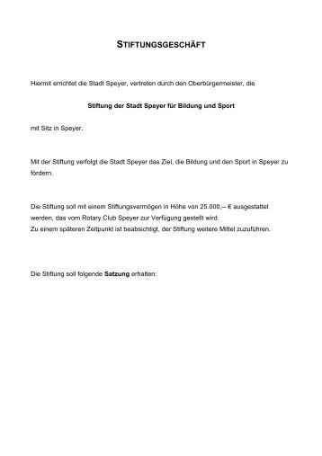 Bildung und Sport Stiftung der Stadt Speyer, Satzung