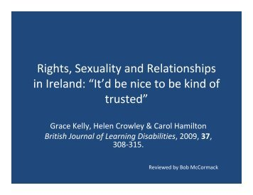 """Rights, Sexuality and Relationships in Ireland: """"It'd be nice to be kind ..."""