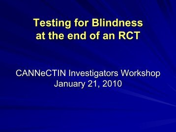 Testing for Blindness at the end of an RCT - Hamilton Health Sciences