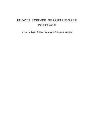 RUDOLF STEINER GESAMTAUSGABE VORTRÄGE