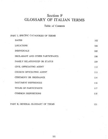 GLOSSARY OF ITALIAN TERMS