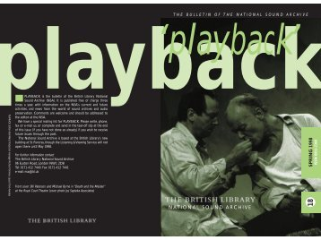 SPRING 1998 NATIONAL SOUND ARCHIVE - British Library